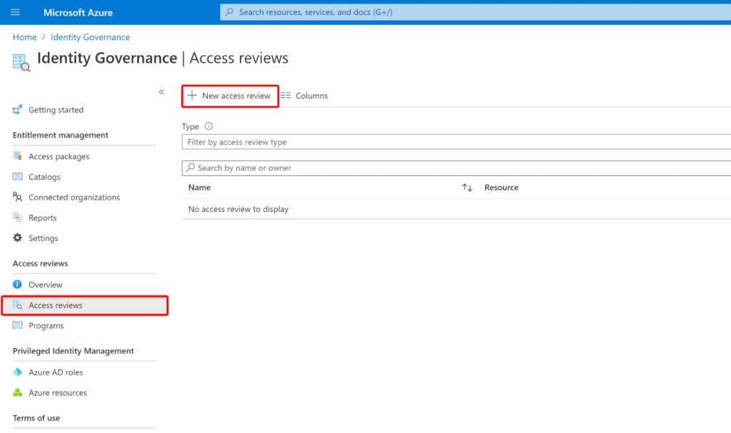 lifecycle management with access review in identity governance