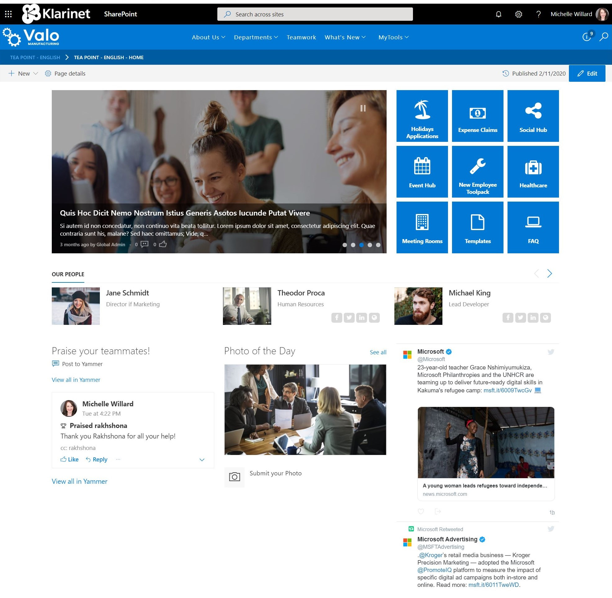Interactive - SharePoint Intranet Homepage