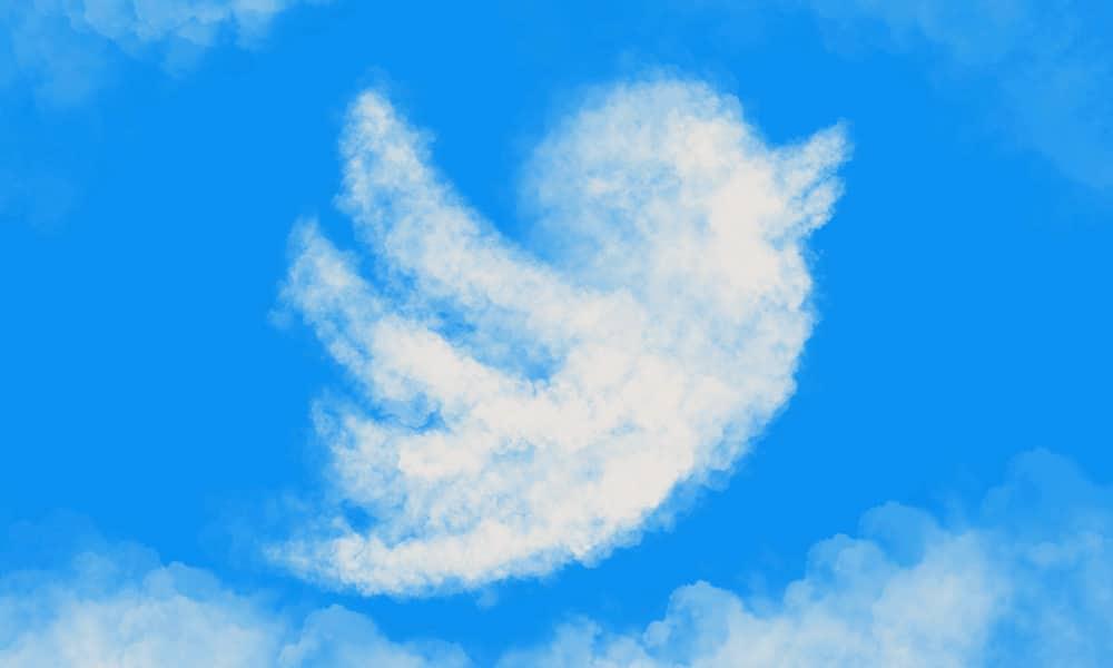 Twitter logo in clouds